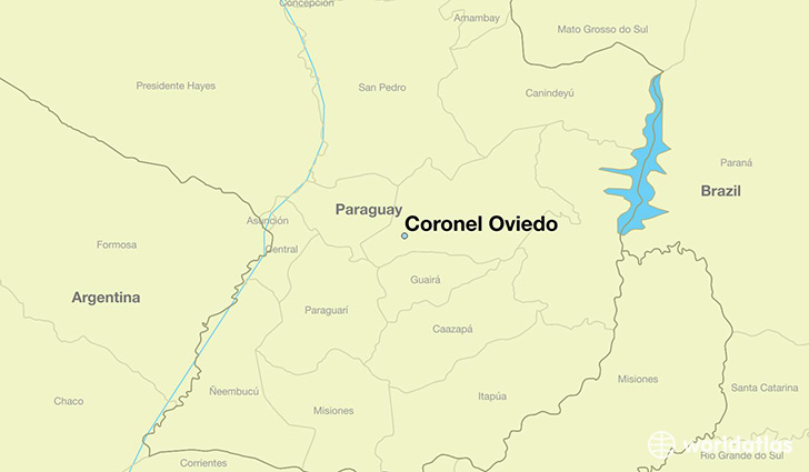 map showing the location of Coronel Oviedo