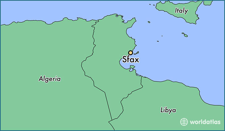 map showing the location of Sfax