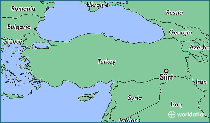 map showing the location of Siirt