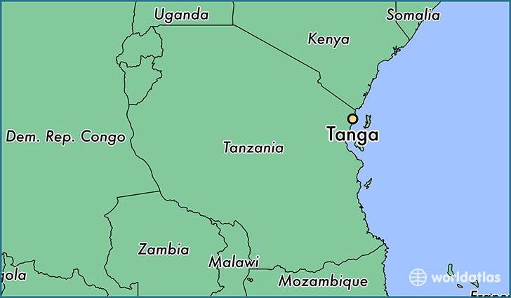 map showing the location of Tanga