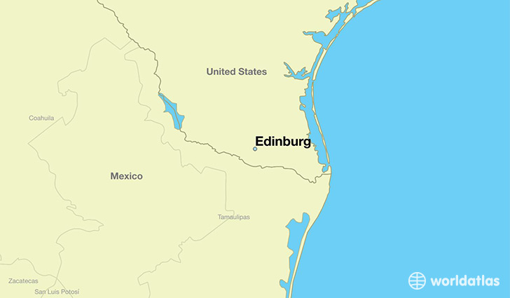 map showing the location of Edinburg