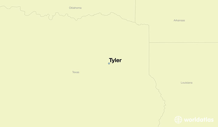 map showing the location of Tyler