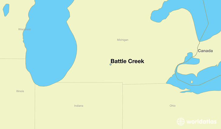 map showing the location of Battle Creek