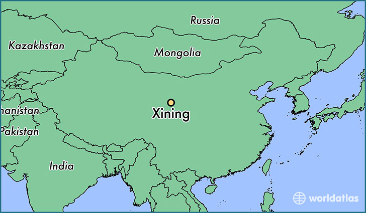 map showing the location of Xining