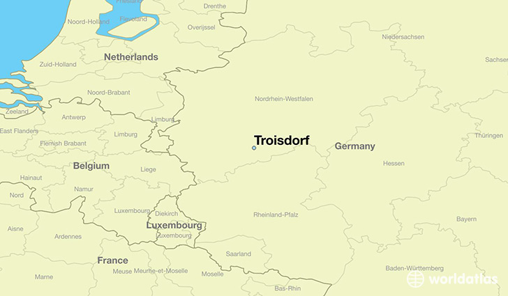 map showing the location of Troisdorf