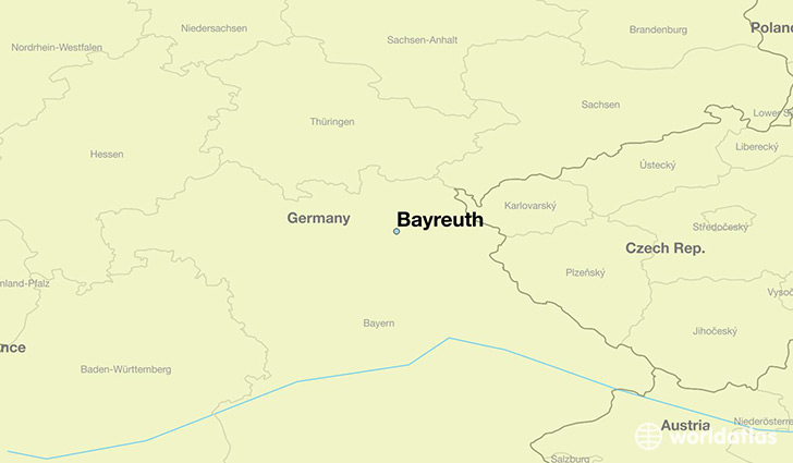 map showing the location of Bayreuth
