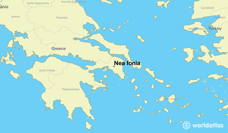 map showing the location of Nea Ionia
