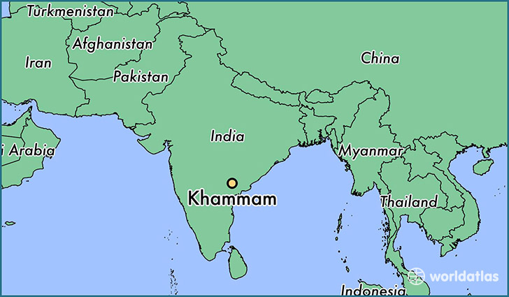 map showing the location of Khammam