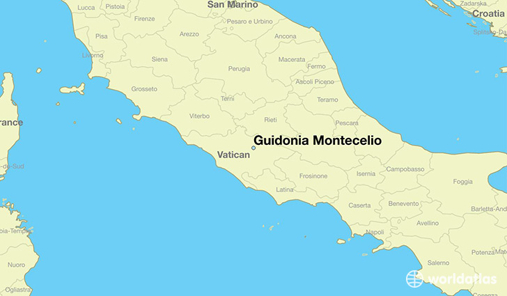 map showing the location of Guidonia Montecelio