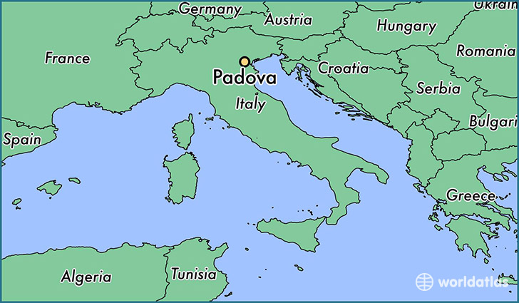 map showing the location of Padova