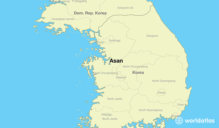 map showing the location of Asan