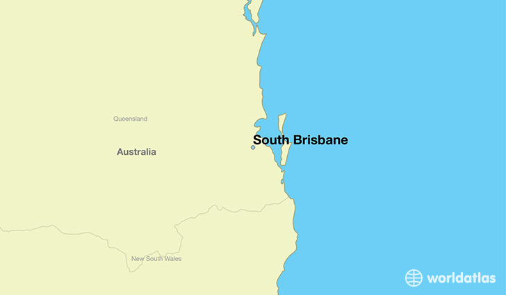 map showing the location of South Brisbane