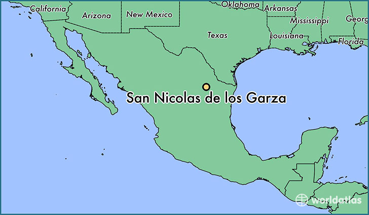 map showing the location of San Nicolas de los Garza