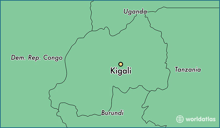 map showing the location of Kigali