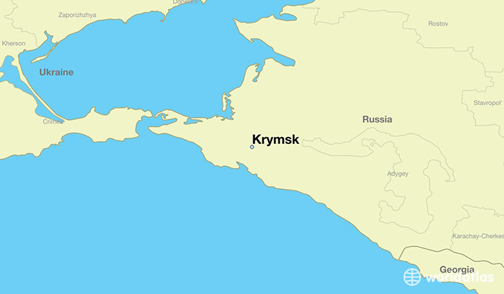 map showing the location of Krymsk