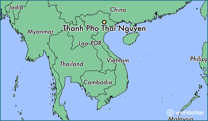 map showing the location of Thanh Pho Thai Nguyen