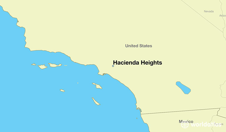 map showing the location of Hacienda Heights