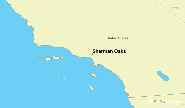 map showing the location of Sherman Oaks