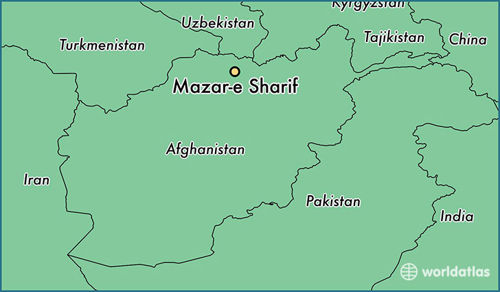 map showing the location of Mazar-e Sharif