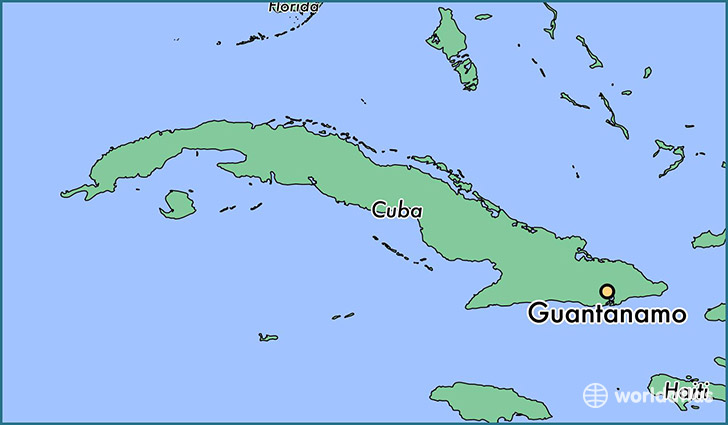 map showing the location of Guantanamo