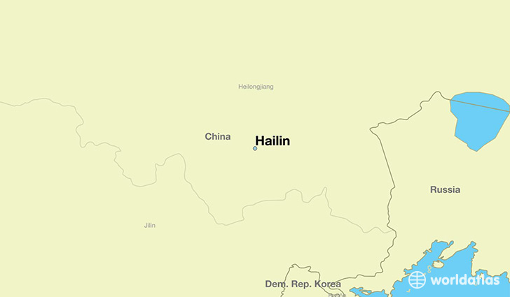 map showing the location of Hailin