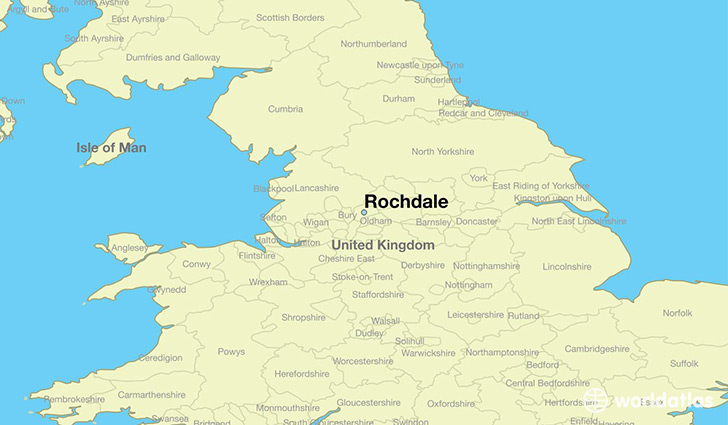 map showing the location of Rochdale