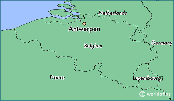 map showing the location of Antwerpen