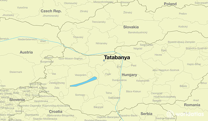 map showing the location of Tatabanya