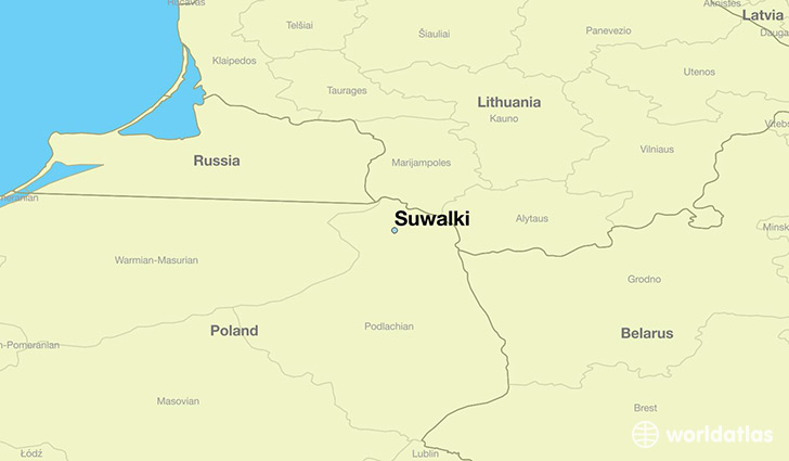 map showing the location of Suwalki