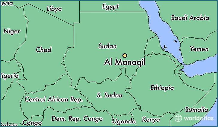 map showing the location of Al Manaqil