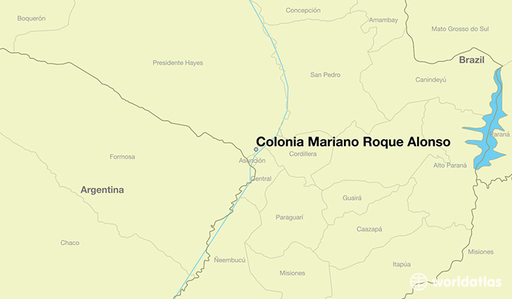 map showing the location of Colonia Mariano Roque Alonso