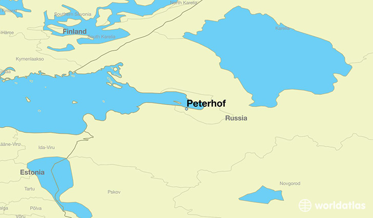 map showing the location of Peterhof