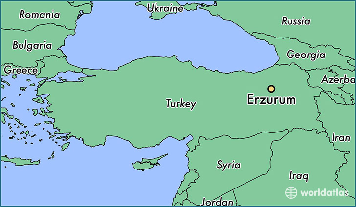 map showing the location of Erzurum