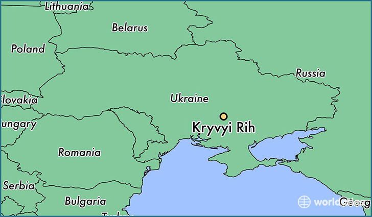 map showing the location of Kryvyi Rih