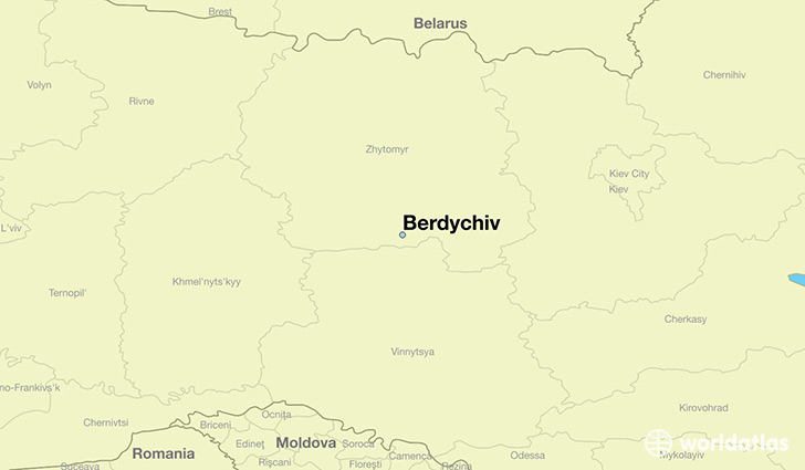 map showing the location of Berdychiv