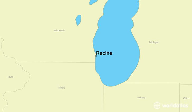 map showing the location of Racine