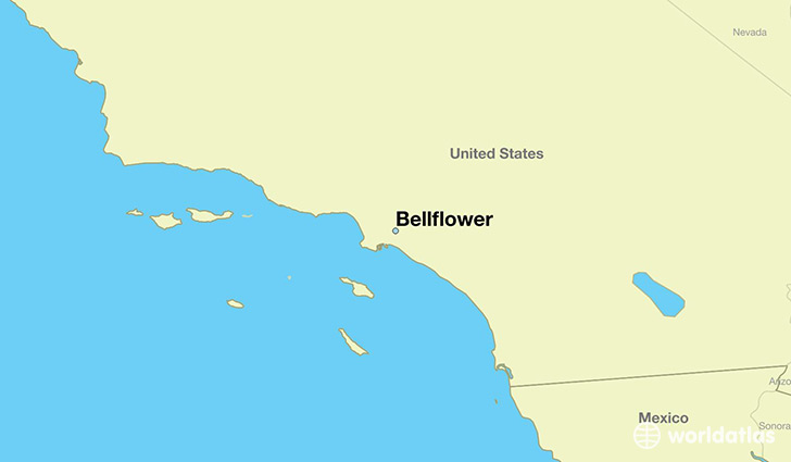 map showing the location of Bellflower