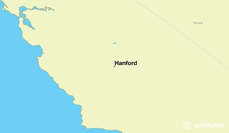 map showing the location of Hanford