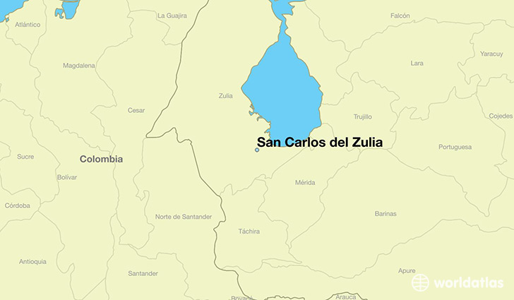 map showing the location of San Carlos del Zulia