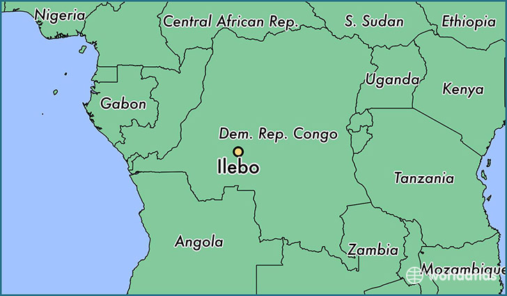 map showing the location of Ilebo
