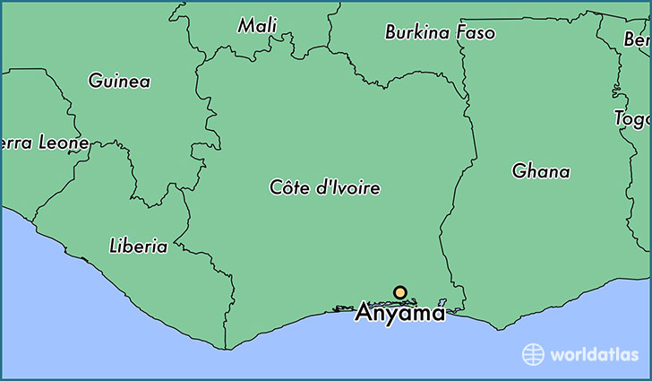 map showing the location of Anyama