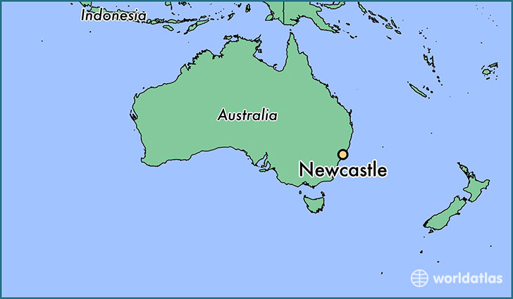 map showing the location of Newcastle