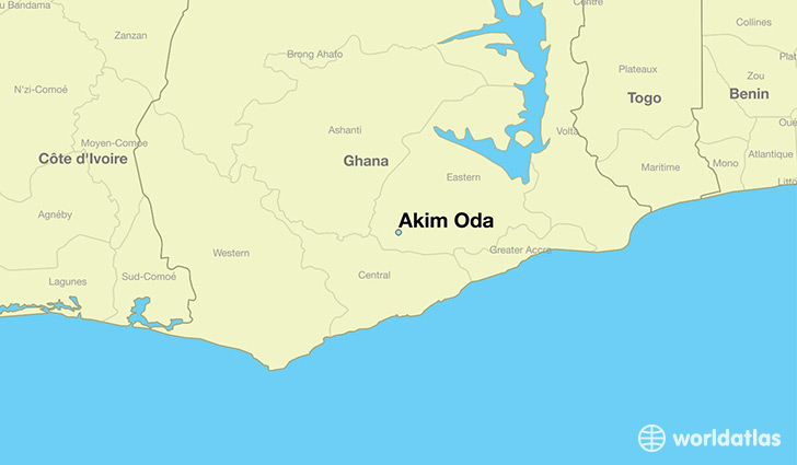 map showing the location of Akim Oda