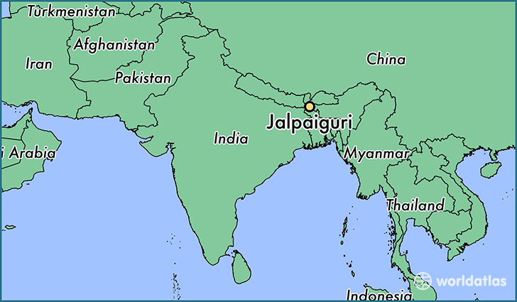map showing the location of Jalpaiguri