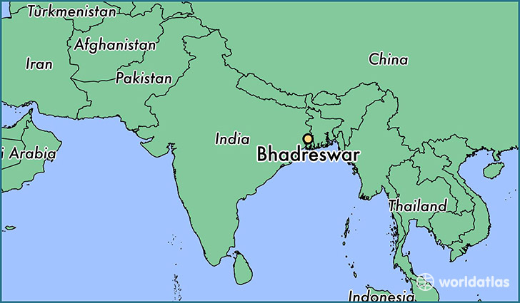 map showing the location of Bhadreswar