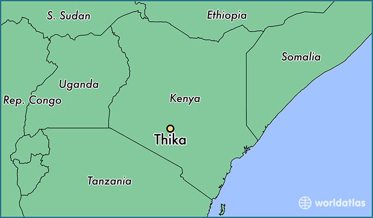map showing the location of Thika