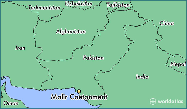 map showing the location of Malir Cantonment