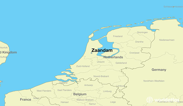 map showing the location of Zaandam