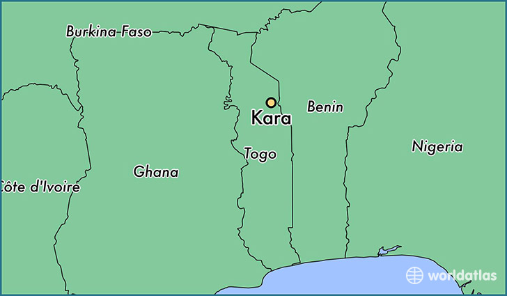 map showing the location of Kara