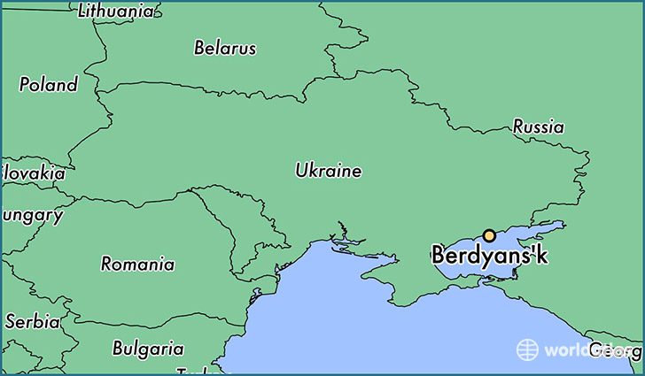 map showing the location of Berdyans'k